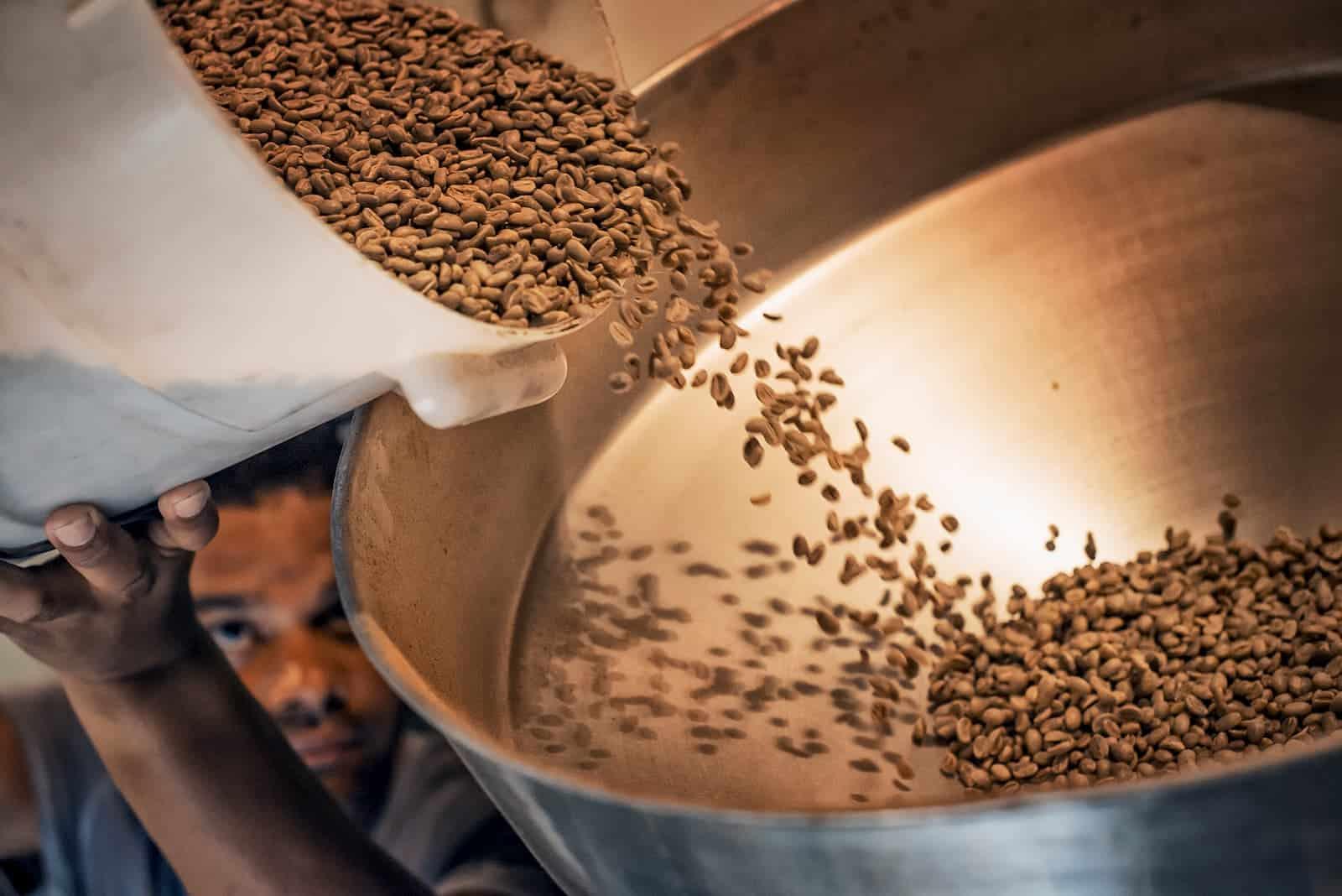 processo de mistura de grãos