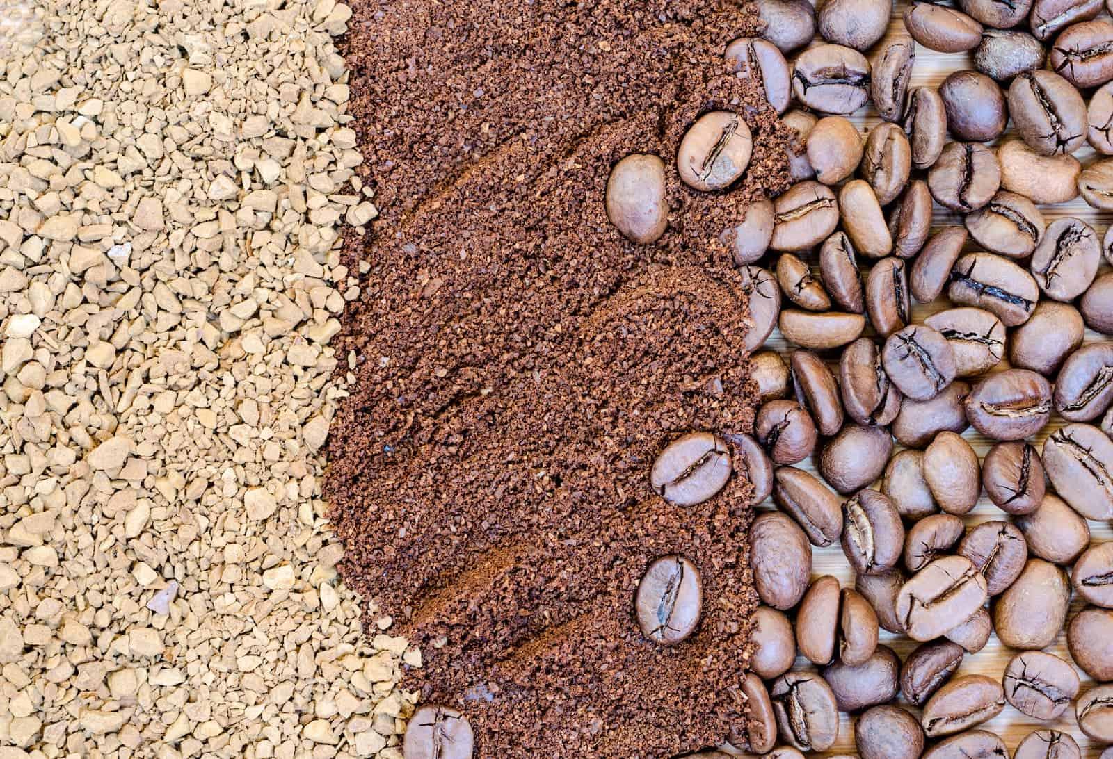 diferentes grãos de café