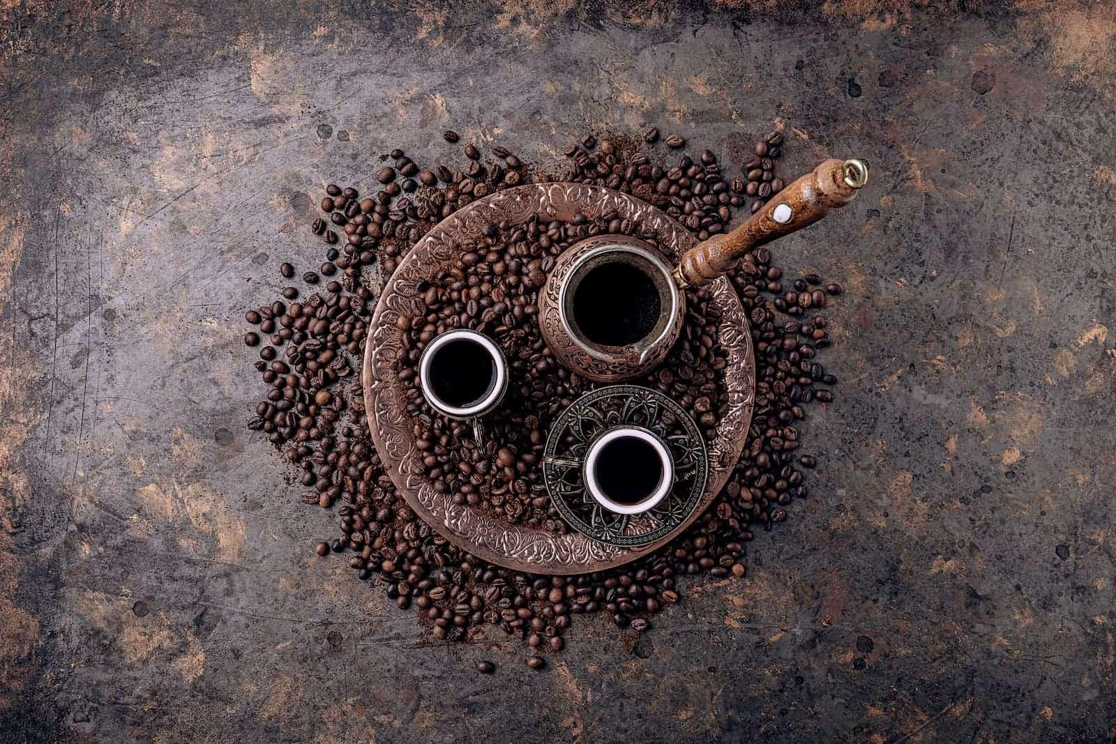 xícara preparada com café